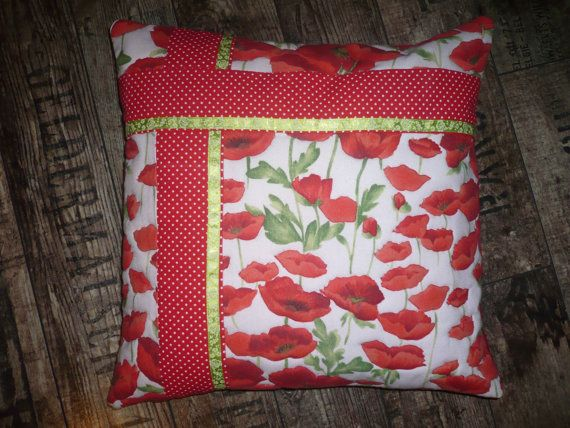 Poppies cushion by Maggiepatchwork on Etsy