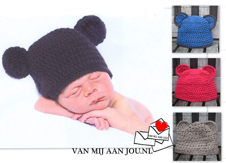 newborn baby peuter en kleuter maat - meisje - berenmuts -  muts op bestelling gehaakt - met de hand op maat en kleur gehaakt - www.vanmijaanjou.nl -