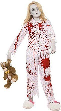 Smiffys Halloween Costume Children Zombie Pyjama Girl Pink Horror Blood Large