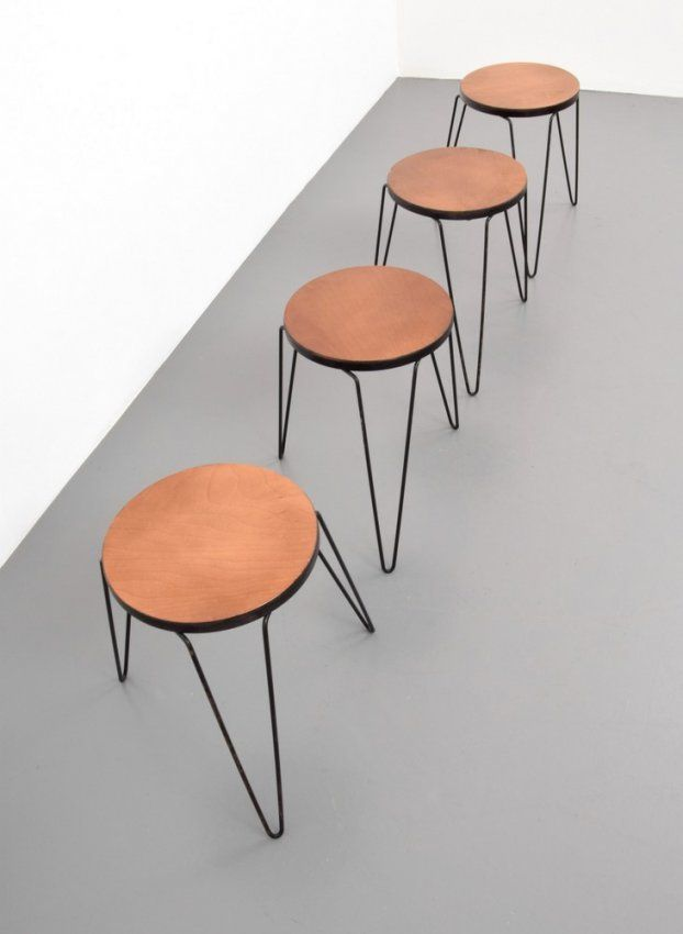 Rare & Early Florence Knoll Stacking Stools/Tables, Set : Lot 359