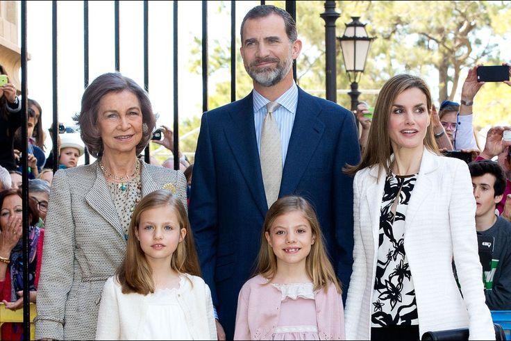 Doña Sofía, Infanta Leonor, Princess of Asturias, Don Felipe VI, Infanta Sofía, and Doña Letizia. Spanish Royals Attend Easter Mass in Palma de Mallorca on April 5, 2015