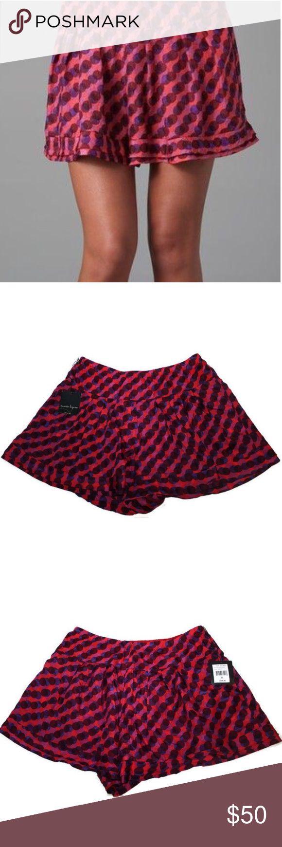 """Nanette Lepore 100% Silk Tattletale Short NWT Nanette Lepore Size 6 Tattletale Short in Berry.                     New with Tags                                                        100% Silk                                                                  Inseam: 3.5"""", Waist Across: 15"""", Rise: 11"""" Nanette Lepore Shorts"""