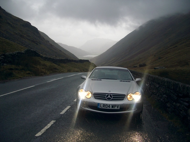 Mercedes SL500 in the Lake District. Wet weather driving.