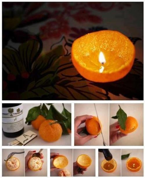 Kerze aus einer Orangenschale - dekorativ und dufte. Tipp: Orangen Duft macht gute Laune