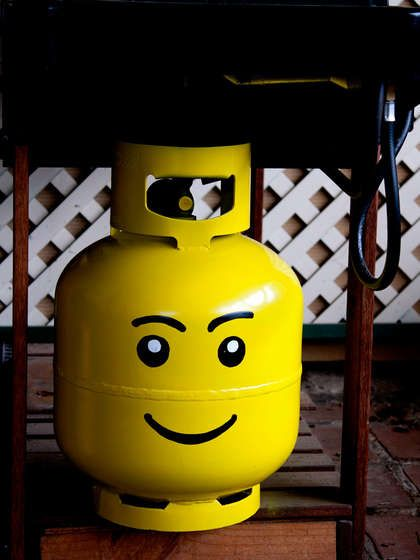 Lego Head Propane Tank.  This is awesome!