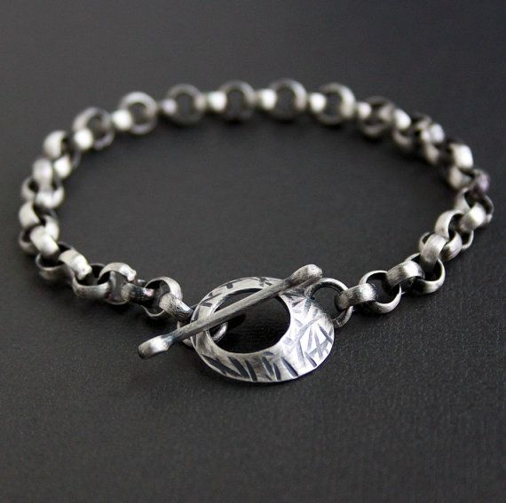 Silver Chain Link Bracelet: Men's Silver Chain Bracelet, Large Link With Toggle Clasp