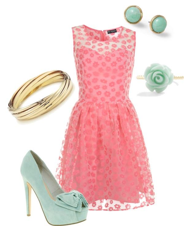Pink & Teal // so cute! Love this dress!!!!!!!!!!!