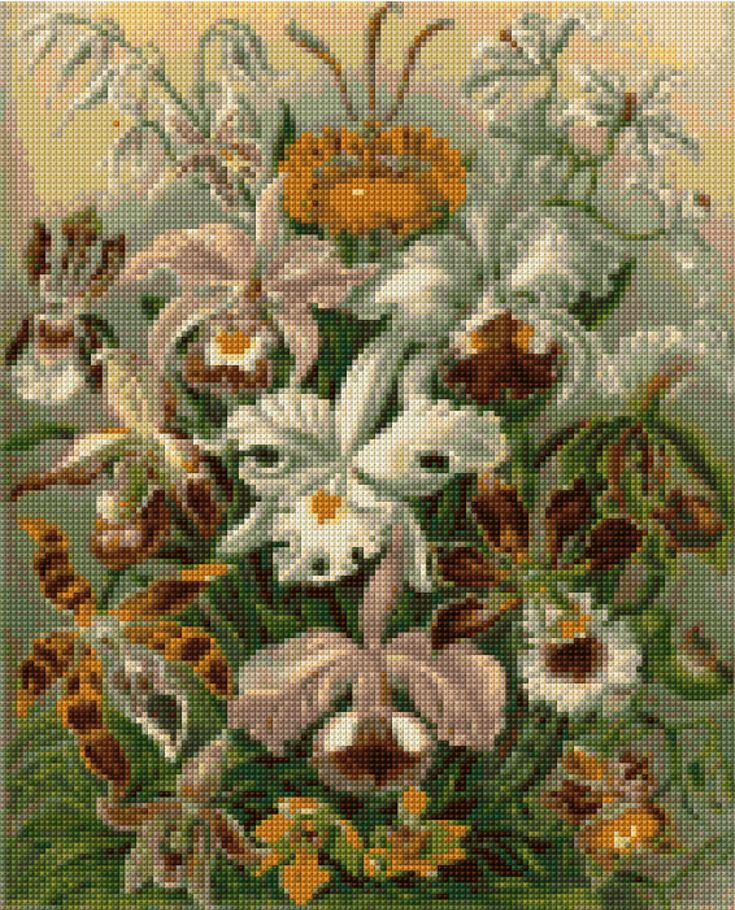 Cross stitch pattern Vintage Victorian Orchids PDF - New EASY chart with one color per sheet And regular chart! Two charts in one! by HeritageCharts on Etsy