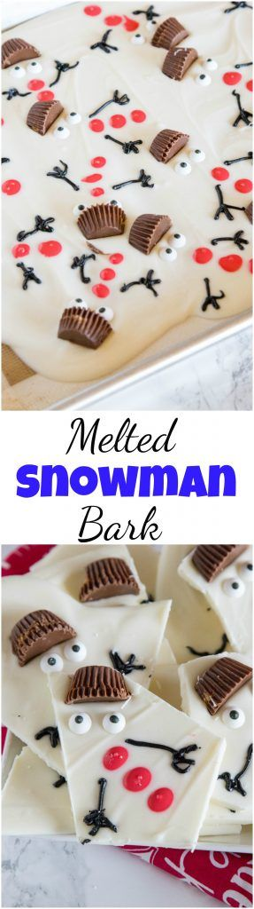 Melted Snowman Bark - get in the holiday spirit with this super easy, super adorable candy recipe. Serve as one full tray and let everyone break off their own snowman, or package up to give as a darling holiday present. #christmas #chocolate #snowman #food #recipes #christmasgifts #christmascookies