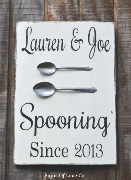 Personalized Spooning Since Wedding Sign Kitchen Decor Anniversary Gift Couples Wall Art Housewarming Gifts 5th 10th 15th 20th 25th 30th 40th 50th Anniversaries Present