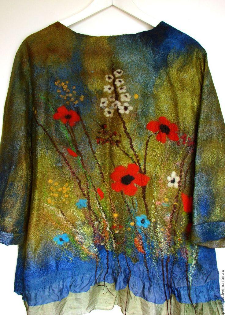 """Купить Джемпер """"Босиком по траве"""" - комбинированный, цветочный, авторский джемпер, модный войлок, модный джемпер"""