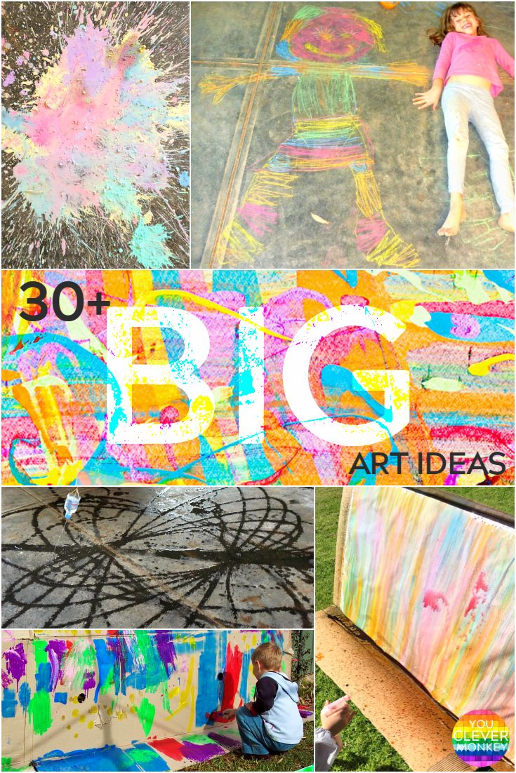 Tons of ideas for GIANT art projects for kids. These activities are perfect for home or school, and your kids will have so much fun!