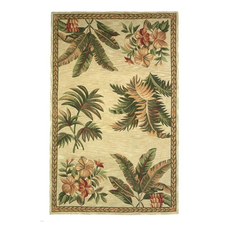 Tropical Motif Ivory 8 ft. 6 in. x 11 ft. 6 in. Area Rug