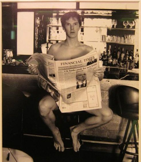 Taken by photographer Alison Jackson in 2008. Her quote: 'I was shooting Benedict Cumberbatch the star of Atonement at the bar in the Ivy Club. We had this idea that he should pose naked on a bar stool with just a copy of the Financial Times. He didn't think twice about doing it. He just stripped everything off in the club. There were other people around but no one gave him a second glance.' Wow.