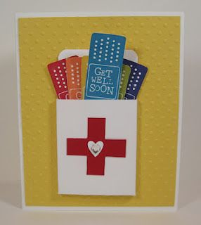 great, now I want these stamps ;): Cards Ideas, Bandaid Cards, Cards Get Well, Red Cross, Bandaid Boxes, Bands Aid Boxes, Get Well Cards, Boxes Cards, Stampin Up Cards