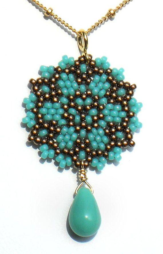 Beadwoven Single Mandala Necklace / Aqua Czech Glass Teardrop / Gold-Filled…