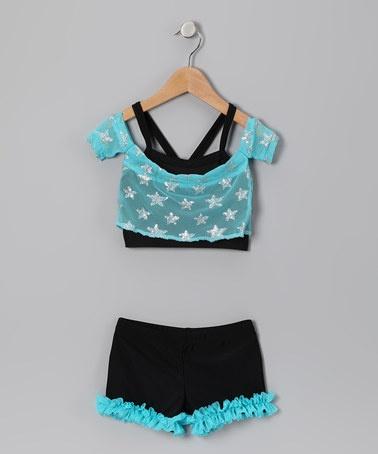 Turquoise Ruffle Shorts Set - Girls