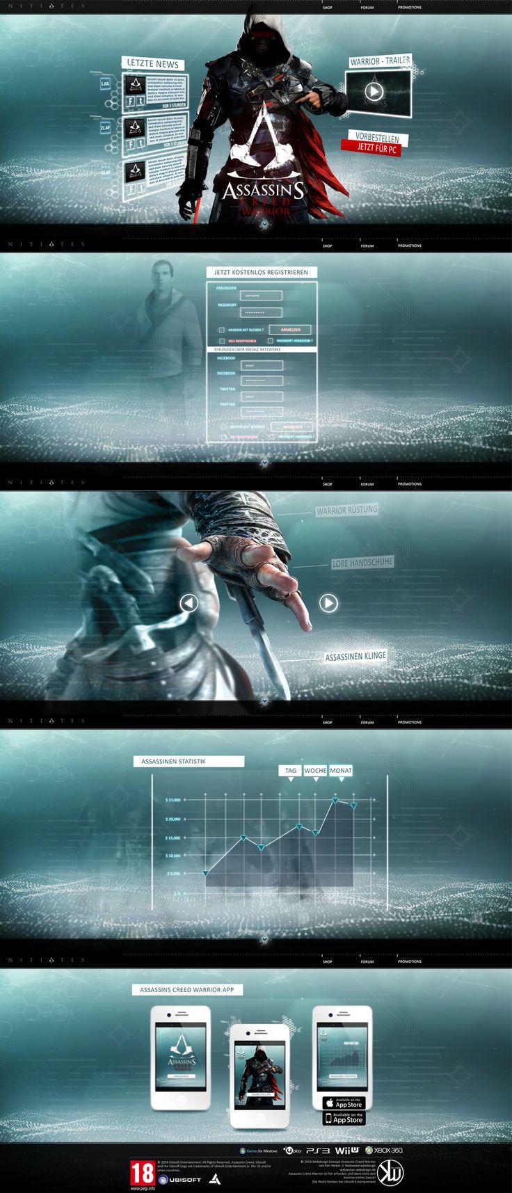 """Ich weiß noch das ich an dem Tag nicht´s zu tun hatte und dachte, mhh wieso erfindest du nicht einfach Assassins Creed ? Dann fing ich an zu designen und kam dadurch auch auf den Namen """"Warrior""""… mhhmm sehr einfallsreich *lach* 😀 Ich hatte aufjedenfall meinen Spaß und habe somit eine erfundene AC Reihe mit dem Webdesign kreiert. Das ganze ist wie ein One Pager aufgebaut. Ist schon etwas älter das Design aber mir gefällt es 😉"""