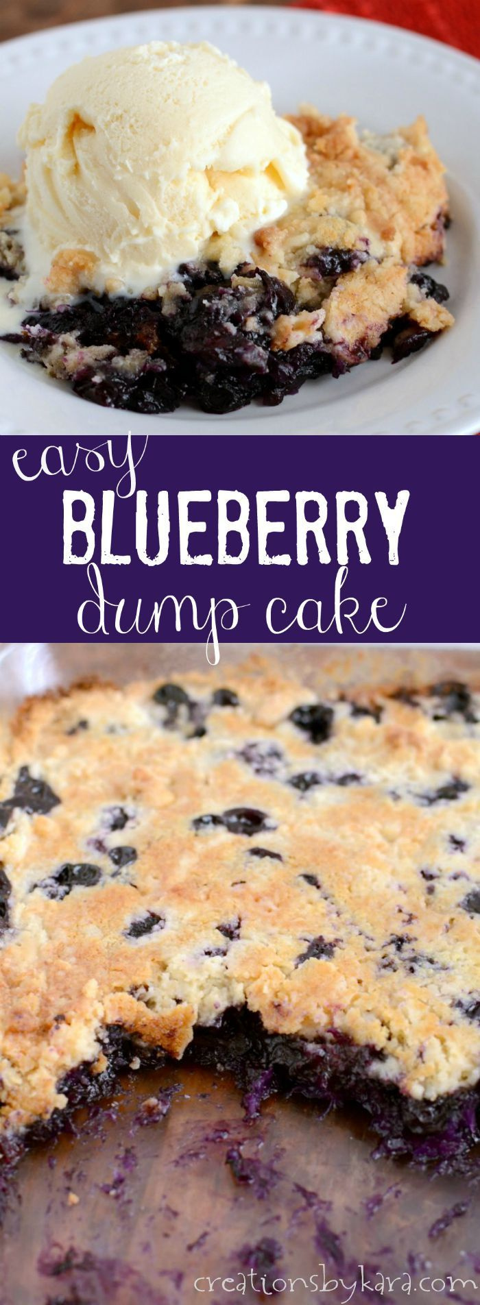 This Blueberry Dump Cake uses fresh berries instead of pie filling, so it has a fresh taste that is unbeatable!  An easy dessert for summer potlucks!