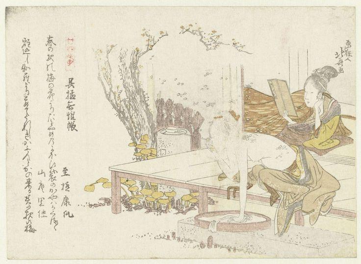 Katsushika Hokusai | Een vrouw die zich wast en een vrouw die een boek leest, Katsushika Hokusai, Shigoku Yasuuri, Sanan Satosumi, 1800 | De halfnaakte vrouw stelt de Gomô (Wu Meng in het Chinees) voor, die naakt sliep zodat de muggen hem zouden lastig vallen in plaats van zijn ouders. Met twee gedichten.
