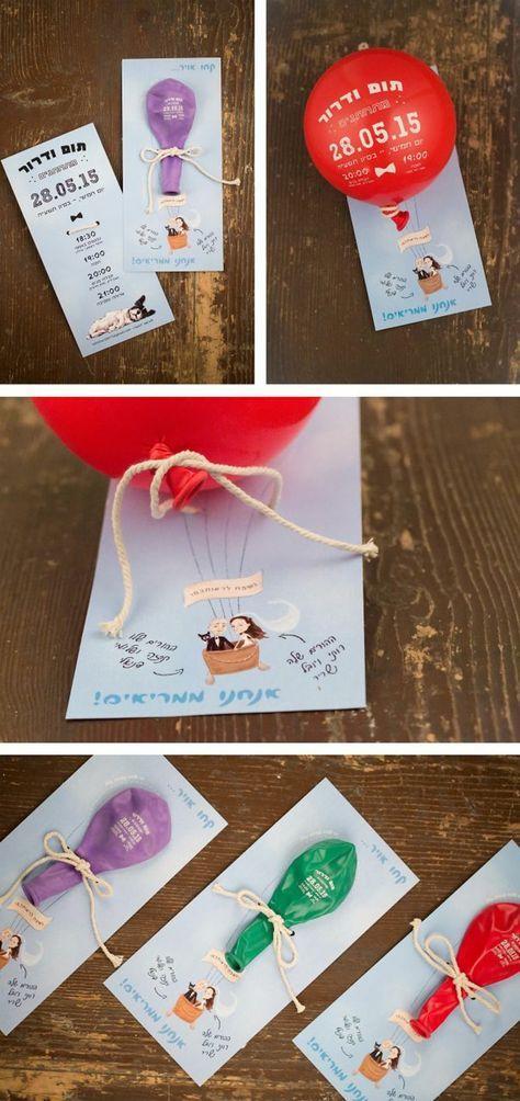 invitaciones-de-boda-originales-invitacion-papel-globo-inflable-rojo-lilá-verde