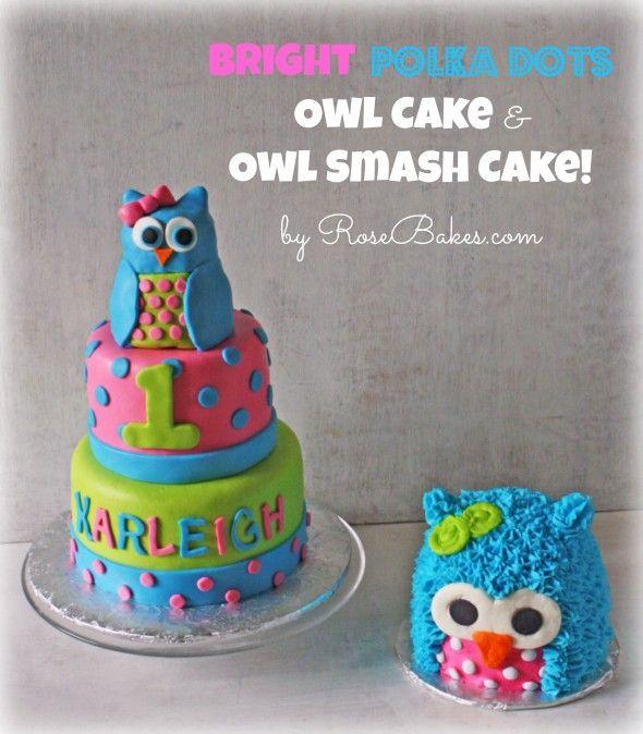 Bright Polka Dots Owl Cake and Owl Smash Cake