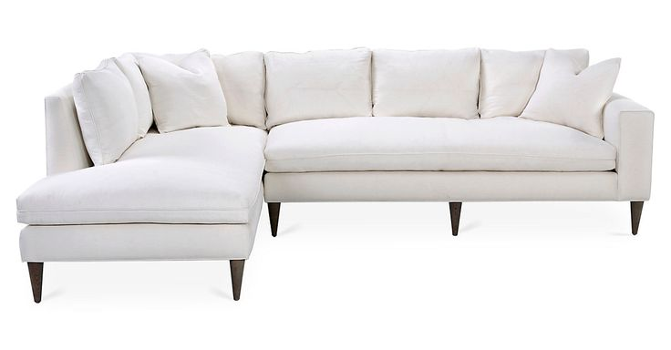 A One Kings Lane Exclusive: Neatly tailored Belgian linen and espresso-finished legs give the relaxed silhouette of this classic sectional a fresh, modern allure. Filled with feather and down, it...