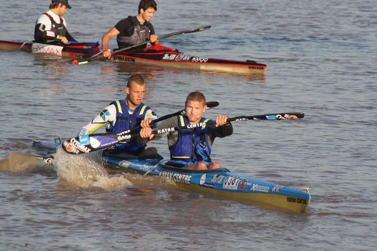 Hank McGregor and partner at the Fish River Canoe Marathon