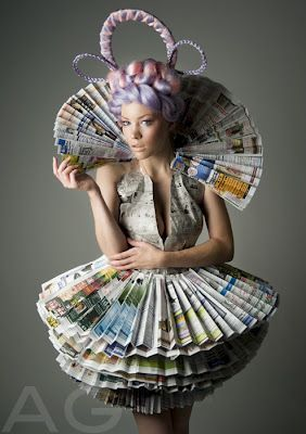 Weird & wonderful...dress made entirely from newspaper..