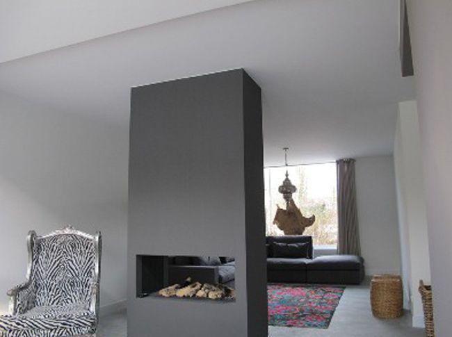 Gepleisterde cementdekvloer maar ook een openhaard kan door Berkers Vloeren afgewerkt worden met Beton Ciré of Venetiaans woonbeton.