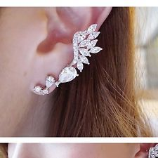 New Punk Fashion Charm Silver White Crystal Wing Ear Cuff Clipon Earrings 1PC