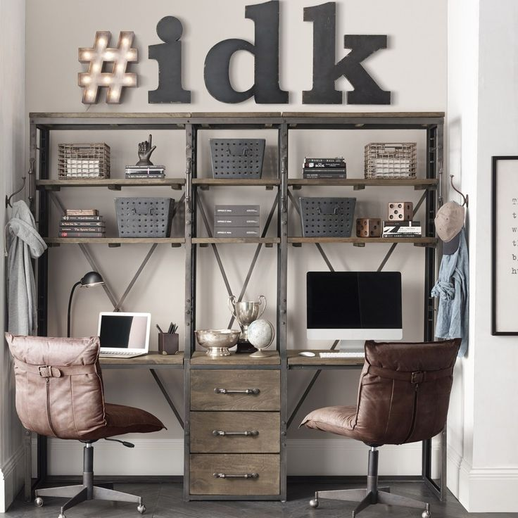 We're totally digging this French library double storage desk for you and a sibling / Письменный стол на двоих, комната мальчика подростка, RH Teen
