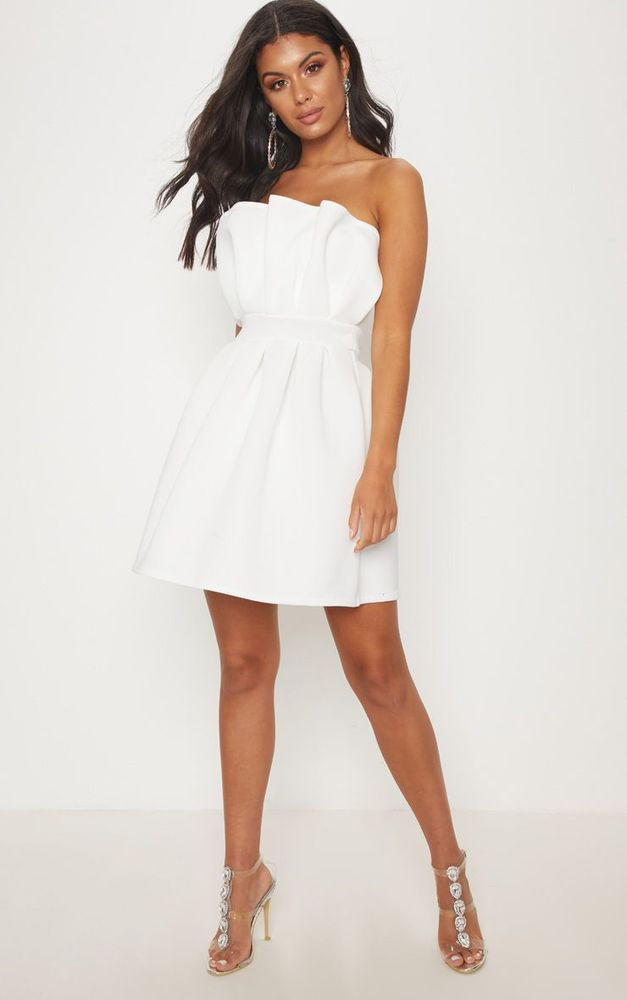 bfcbee590f52 BNWT  Pretty Little Thing White Bonded Scuba Ruffle Skater Dress Size 12   fashion  clothing  shoes  accessories  womensclothing  dresses (ebay link)