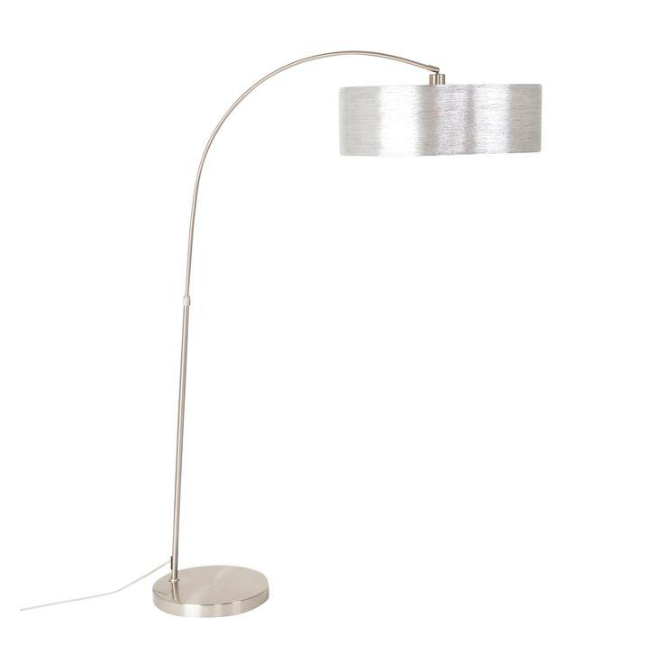 yosemite 1light arc floor lamp satin steel with starlight weave shade light