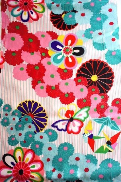1960s vintage japanese kimono fabric                                                                                                                                                                                 Más