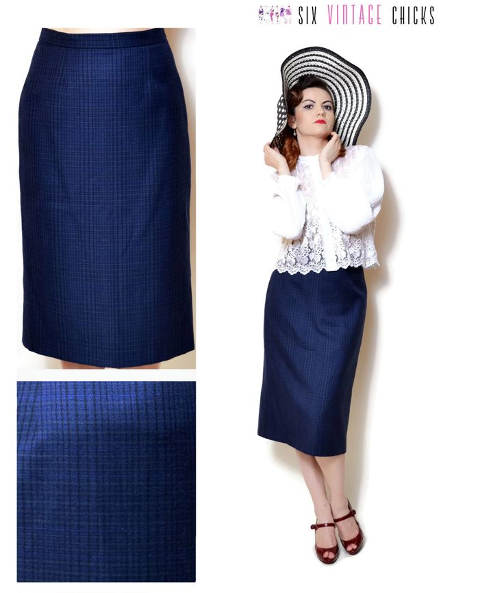 plaid Skirt vintage high waisted women clothing midi pencil skirt 80s clothing  blue boho Retro minimalist office clothes wool skirt M/L by SixVintageChicks on Etsy