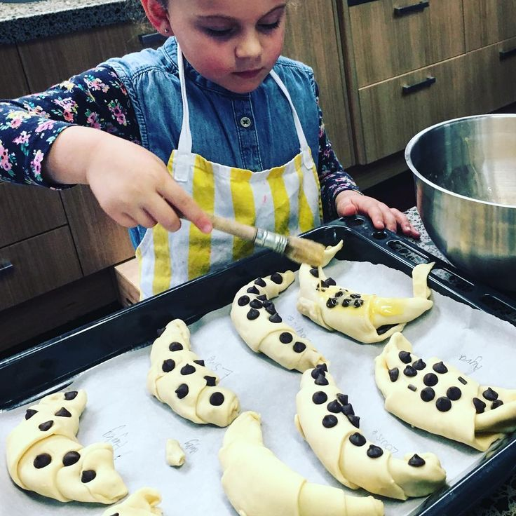 Creating pain au chocolat and croissants with dark chocolate freckles  #KidsCanCook #frenchfood #croissant