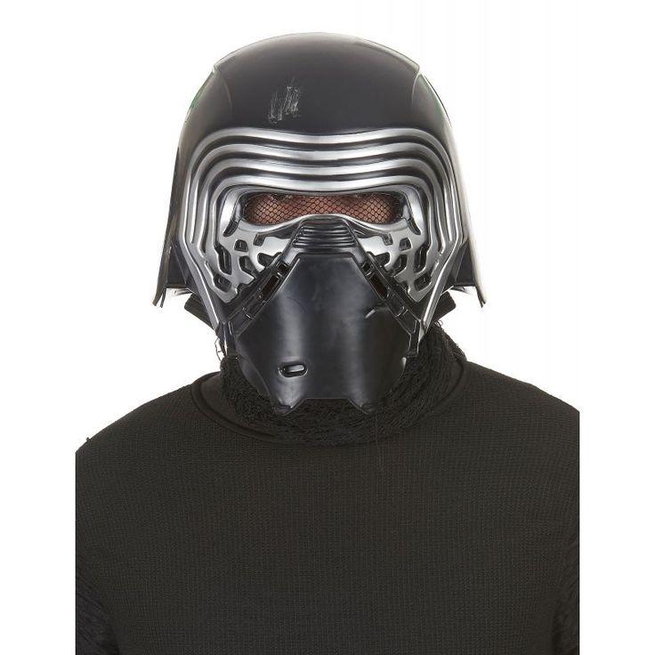 Ce masque de Kylo Ren™ pour adulte est sous licence officielle Star Wars™. Ce masque en plastique rigide est de couleur noir et argent. De faux impacts sont réprésentés à l'arrière du casque et sur le haut de la tête, il semble avoir été abîmé pour donner