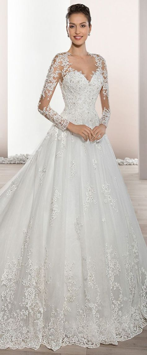 Junoesque Tulle Sheer Jewel Neckline A-Line Wedding Dress With Beaded Lace Appliques #laceweddingdresses