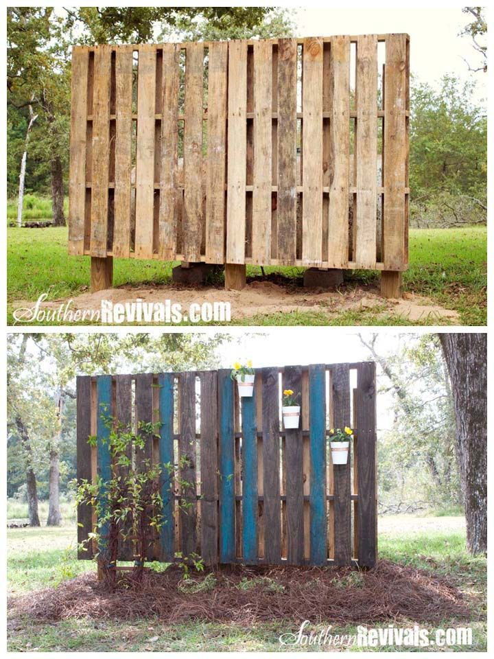 Pallet privacy wall...cool!!!  Now how do I install it without the annoying neighbor feeling annoying?