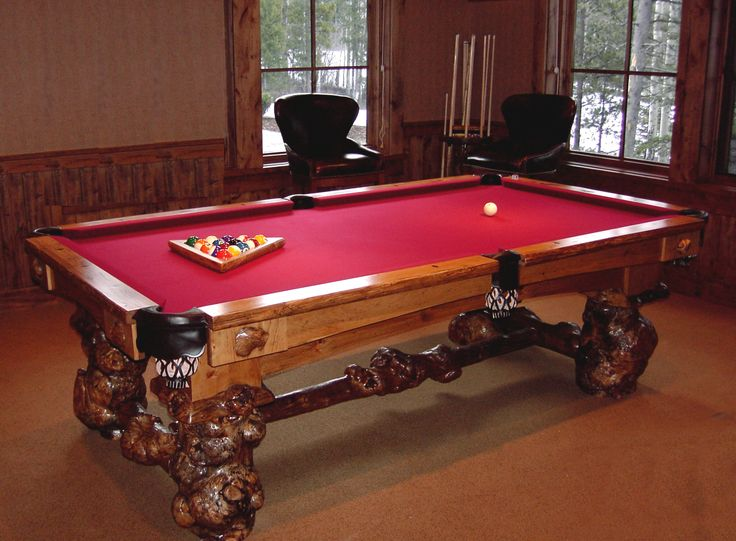 The Firehole Model Billiard Table From The Yellowstone Collection Built  With Unusual Lodgepole Burl Legs,