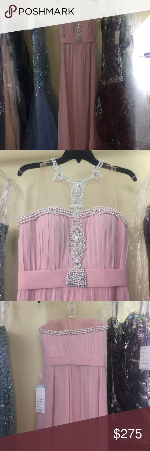 New! Never Worn with Tags Kathy Hilton Dress 👗👗 Long pink dress with pearl accents around neck, chest, and back. Kathy Hilton Dresses