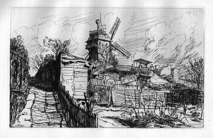 Vieux moulin à Montmartre - Paris - Au-dessus de la rue Lepic, dans l'axe de la rue Tholozé (1910)