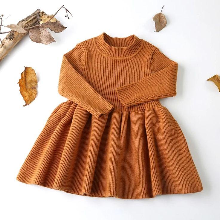 Weiches Strickpullover-Kleid mit durchgehendem Rock   – Cute baby clothes