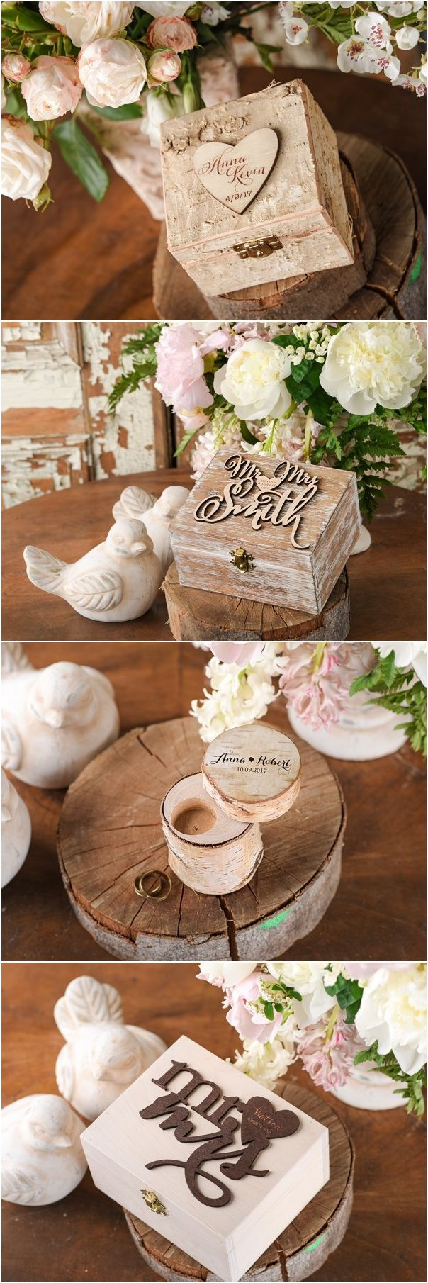 Rustic country wood wedding ring box ideas