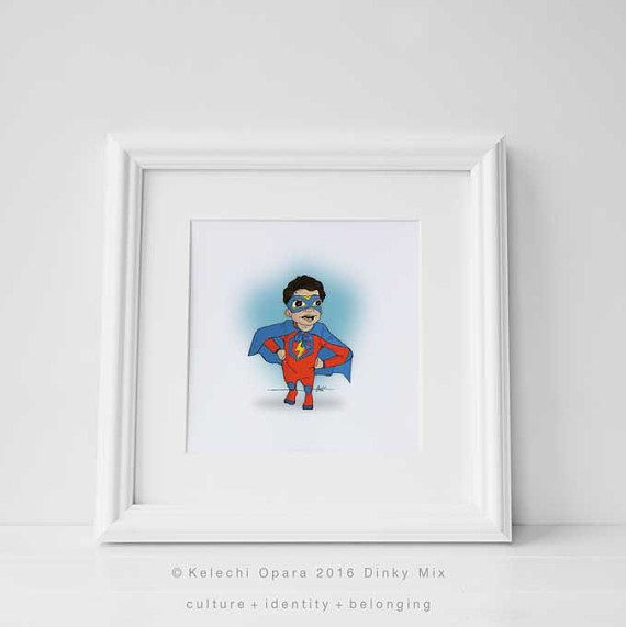 Dinky Mix 'Hero Stance' Cute Mediterranean Olive Skin Boy, Superhero illustration print, art for children,nursery decor