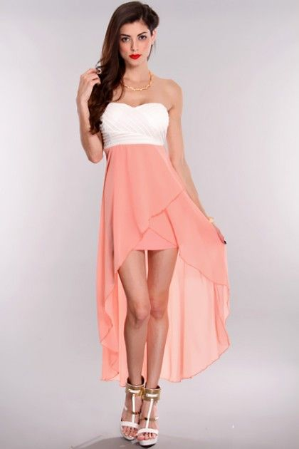 Peach White High Low Hem Strapless Dress / Sexy Clubwear | Party Dresses | Sexy Shoes | Womens Shoes and Clothing | AMI CLubwear