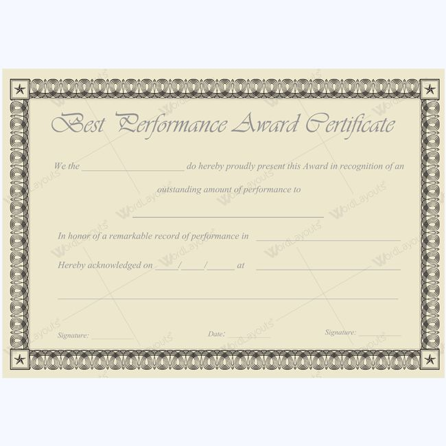 Word Best Performance Certificate Template #bestperformanceaward - blank award certificates