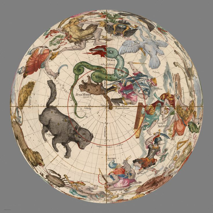 David Rumsey Historical Map Collection | Mapping the Heavens in 1693. In GIS, the same plates can be reprojected in orthographic projection, which allows us to see a full 180 degrees around each plate. Below is polar Plate 1 and its four adjoining plates in orthographic projection.