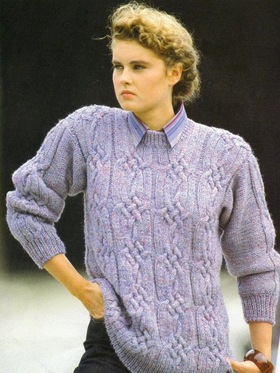 Instant PDF Download Vintage Knitting Pattern to make A Ladies Aran Sweater Jumper Top with Plaited Cable Bands